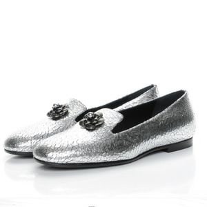 38.5 Chanel Camellia Silver Crackle Loafers